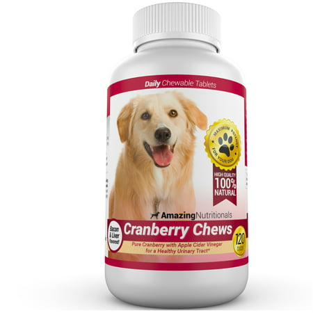 Amazing Nutritionals Cranberry Urinary Tract Support Daily Supplement Chews for Dogs, 120 Chews
