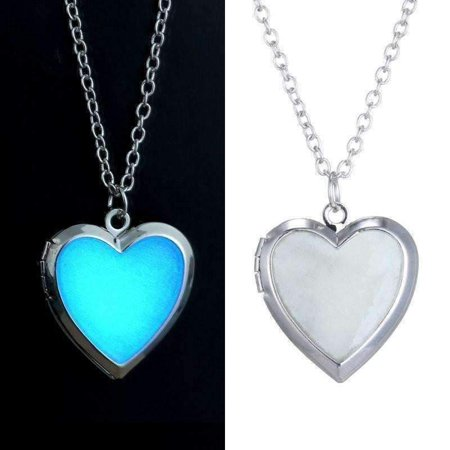 ON SALE - Beaming Heart Glow in The Dark Locket Necklace Silver (Vintage Silver Lockets)