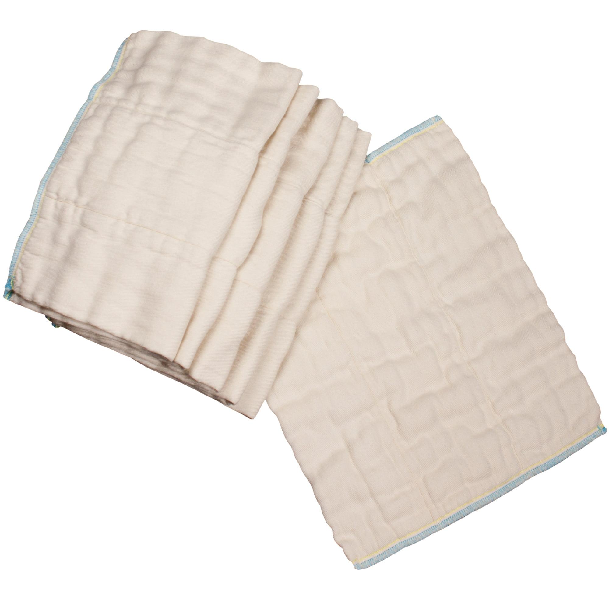 Osocozy Bamboo Organic Cotton Prefolds (6pk) - Infant 4x8x4