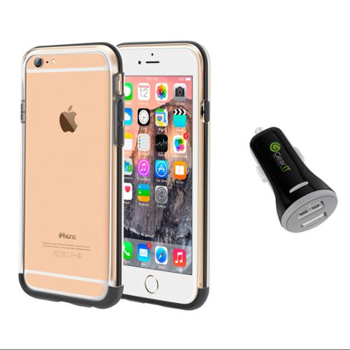 iPhone 6 Case Bundle (Case + Charger), roocase iPhone 6 4.7 Strio Bumper Open Back with Corner Edge Protection Case Cover with Black 3.4A Car Charger for Apple iPhone 6 4.7-inch, Clear