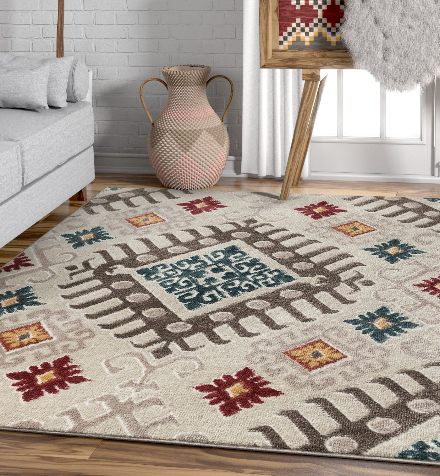 Well Woven Moroccan Ikat Area Rug Multicolor