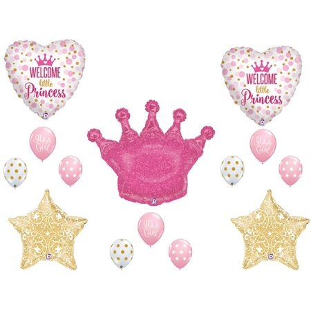 Welcome Little Princess Crown Balloons Decoration Supplies Girl Baby Shower