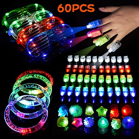 LED Light Up Toys Flashing Party Favors & Party Supplies Beam Finger Light, Glow-in-the-dark Glasses, Bumpy Rings, Children's Theme Disco Dancing Set for Birthday, Easter Egg Fillers,Carnival 60 PCs