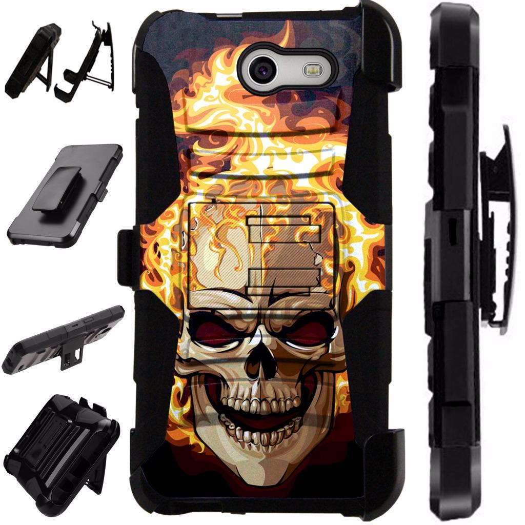For Samsung Galaxy J3 Mission / J3 Eclipse / J3 Luna Pro / J3 Prime / Sol 2 Case Heavy Duty Hybrid Armor Dual Layer Cover Kick Stand Rugged LuxGuard Holster (Flaming Skull Fire)