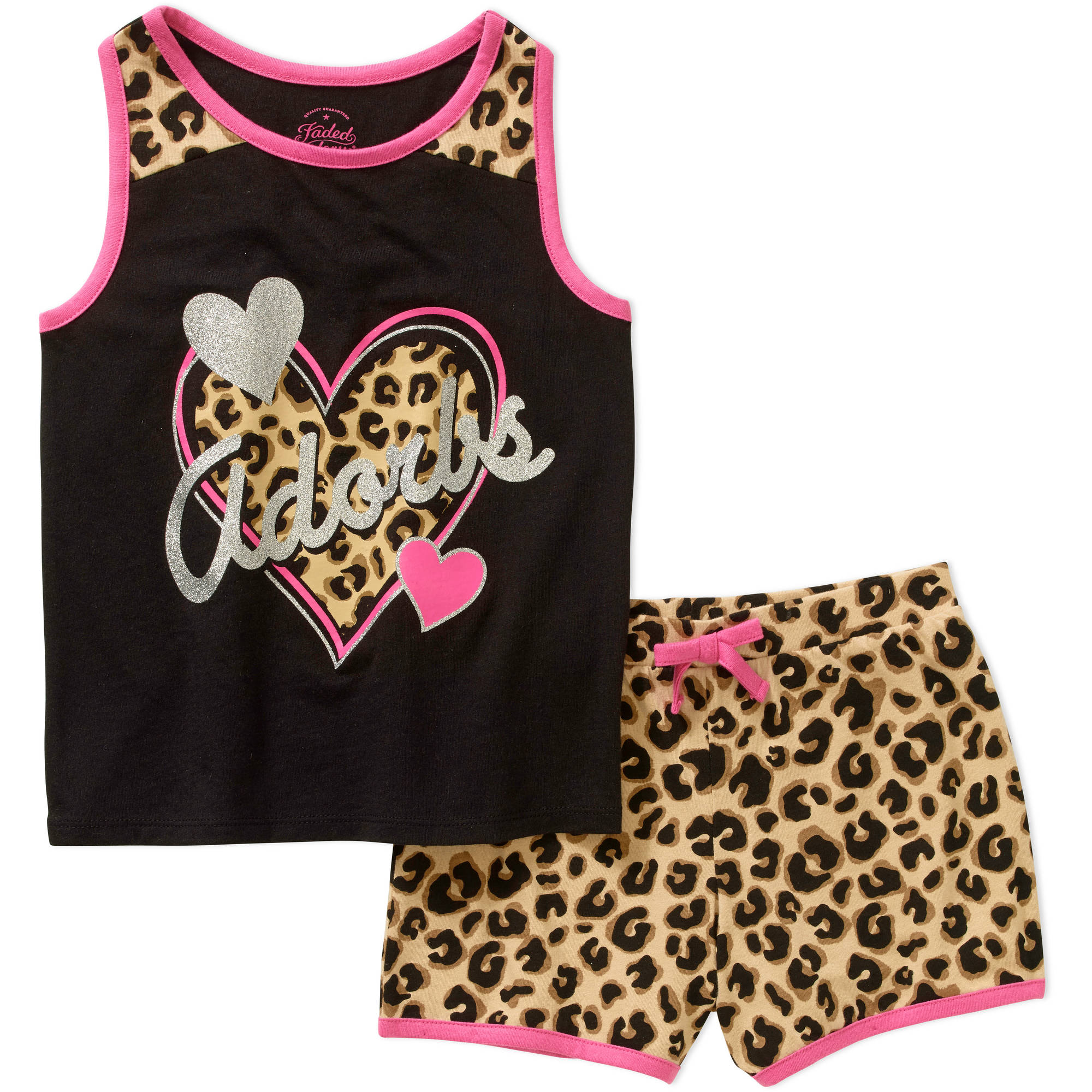 Faded Glory Girls' Animal Print Tank and Short Set