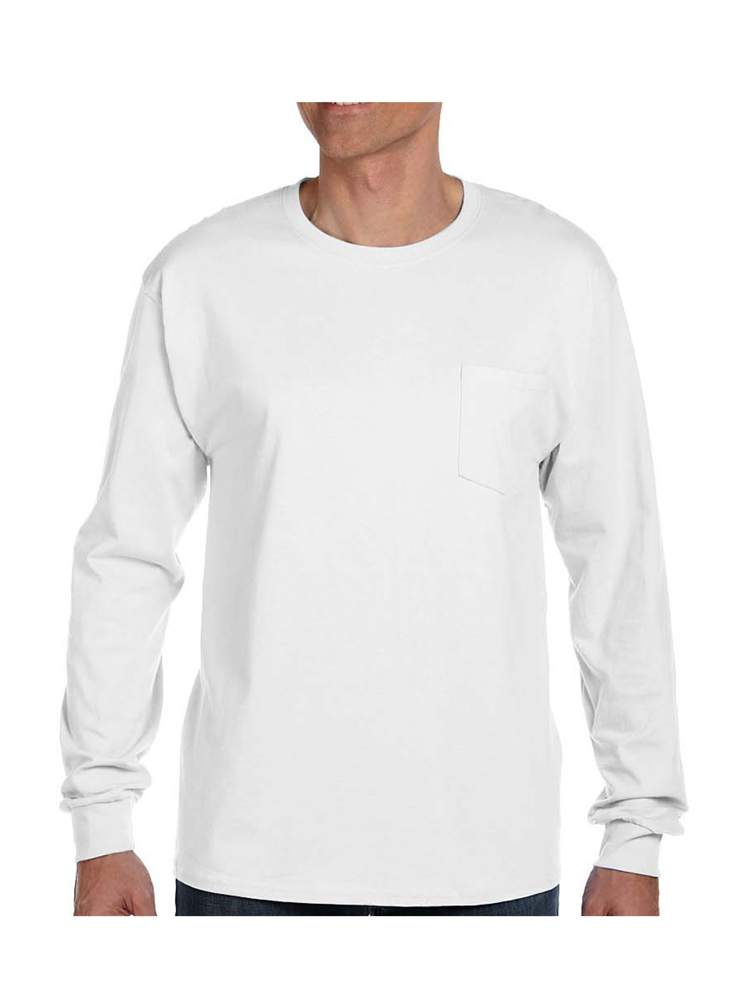 Hanes Adult Tagless Long Sleeve Tee With Pocket, Style 5596