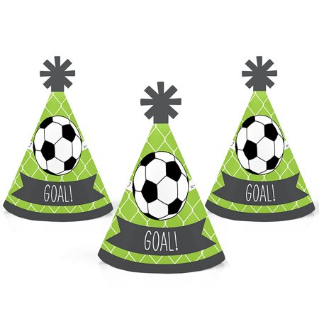 GOAAAL! - Soccer - Mini Cone Baby Shower or Birthday Party Hats - Small Little Party Hats - Set of 10 (Soccer Party Decor)