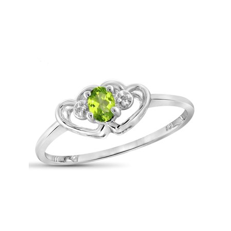 August Stone (0.19 Carat T.G.W. Peridot Gemstone and White Diamond Accent)