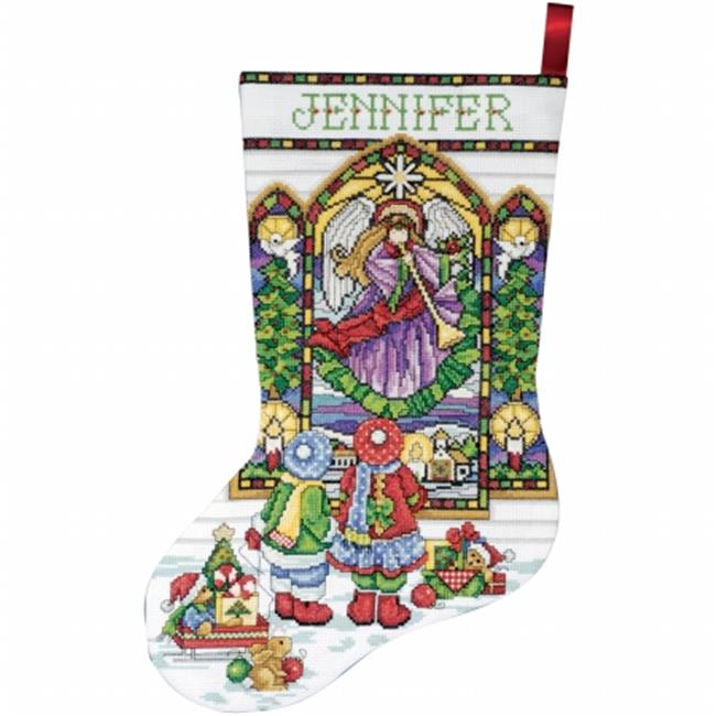 Stained Glass Stocking Counted Cross Stitch Kit-17'' Long 14 Count