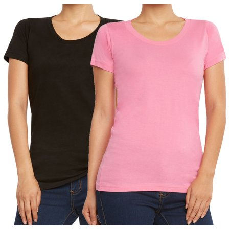 9 Crowns Women's Extra Slim Fit 2-Pack 3-Pack T-Shirts-2 Crew Neck Black/Pink-Large