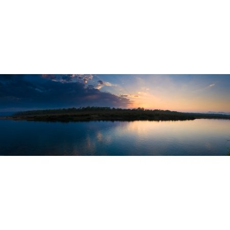 Sunset over a lake Chitwan National Park Western Terai Nepal Canvas Art - Panoramic Images (27 x - National Western Stock