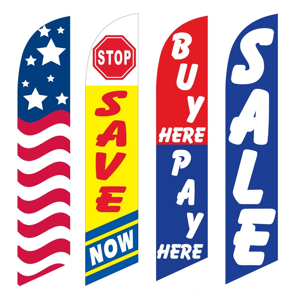 4 Advertising Swooper Flags USA Save Now Buy Pay Here Sale