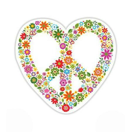 Peace Sign Flowers Cute Hippie - Vinyl Sticker Waterproof Decal Sticker 5