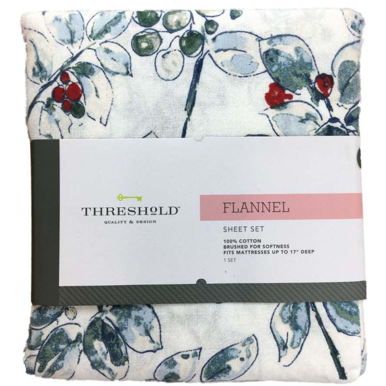 Threshold Flannel Sheet Set Blue Green Watercolor Holly Berry Twin Bed Sheets Walmart Com Walmart Com