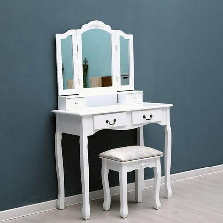 - Ktaxon Tri Folding Mirror Set Makeup Table Wood Vanity Dresser 4 Drawers & Stool Jewelry Desk