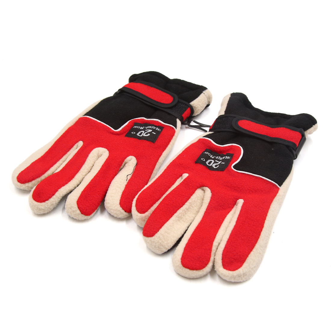 2PCS Red Fleece Warm Protective Full Finger Motorcycle Cycling Outdoor Gloves