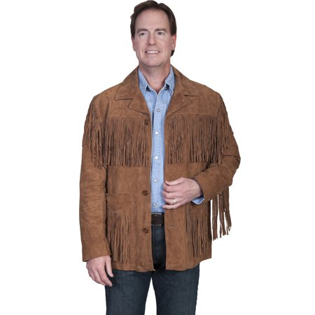 Scully Western Jacket Mens Leather Button Fringe Cinnamon 86-81