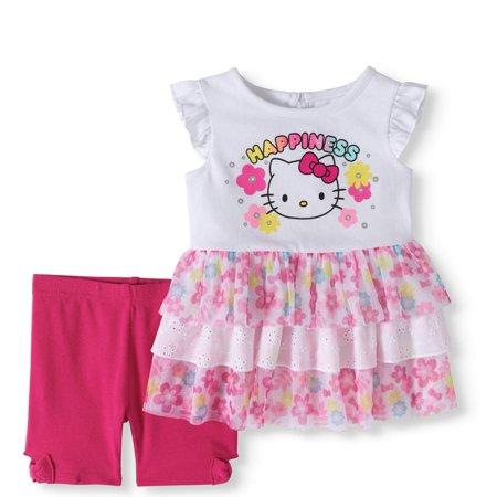 (Baby Girls' Tiered Ruffle Tunic Top and Knit Bike Shorts, 2-Piece Outfit Set)