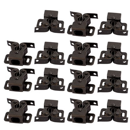 Cupboard Cabinet Door 35x28x12mm Double Ball Roller Catch Latch Bronze 15pcs