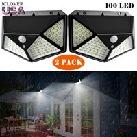 Outdoor Solar Powered Wall Light [2 Pack],iClover 100 LED Solar Lights Outdoor Motion Sensor with [270Wide Angle] [3 Modes], Wireless Waterproof Wall Lamp for Garden, Patio, Fence