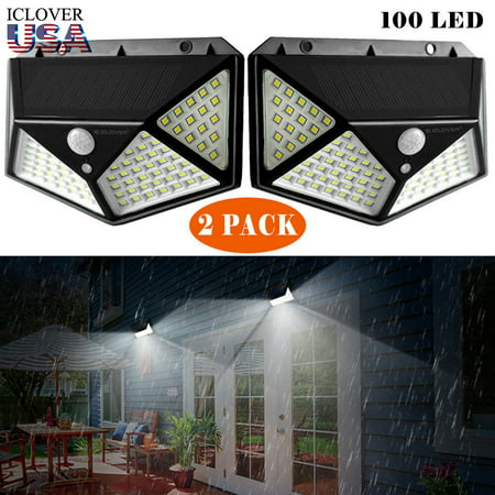 Outdoor Solar Powered Wall Light [2 Pack],iClover 100 LED Solar Lights Outdoor Motion Sensor with [270°Wide Angle] [3 Modes], Wireless Waterproof Wall Lamp for Garden, Patio,