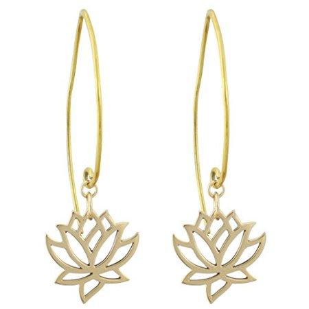 Cut Out Design Lotus Flower Dangle Earrings in Bronze, #8373-brz