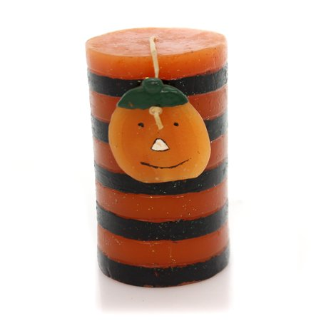 Halloween STRIPED CANDLE WITH PUMPKIN Wax JOL Orange Luminary Ta199 (Halloween Luminaries)