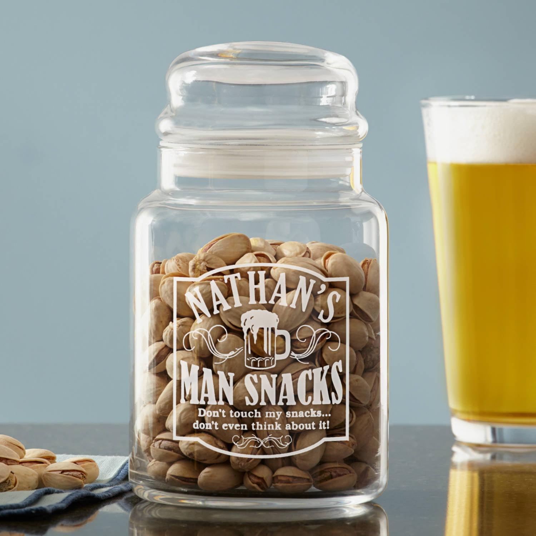 Personalized Man Snacks Treat Jar