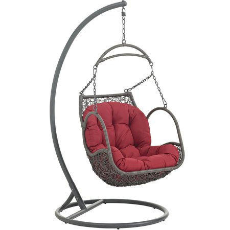 Superb Modern Contemporary Urban Design Outdoor Patio Balcony Swing Chair Red Rattan Onthecornerstone Fun Painted Chair Ideas Images Onthecornerstoneorg