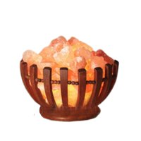 "Wooden Abundance Bowl Lamp w/ Himalayan Salt Chunks: 8"" Diameter, 8-10 lbs"