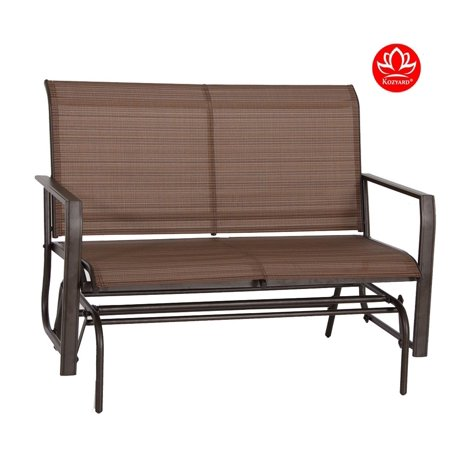 Kozyard Cozy Two Rocking Love Seats Glider Swing Bench/Rocker For Patio, Yard with Textilence Seats and Sturdy Frame (Tan) ()