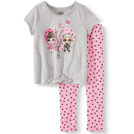 Heart Tie-Front T-Shirt and Capri Legging, 2-Piece Outfit Set (Little Girls) - Girls Valentines Clothes