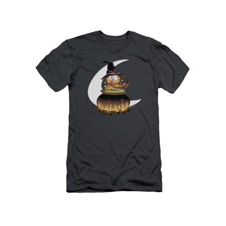 Garfield Classic Comic Cartoon Halloween Cauldron Adult Slim Fit T-Shirt Tee