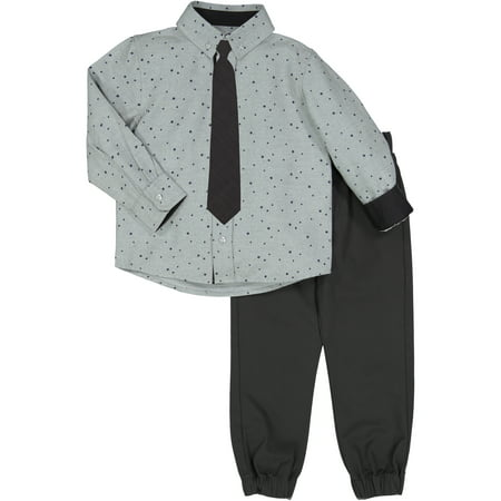 Boys' Star Print Dress Shirt And Twill Tie Set