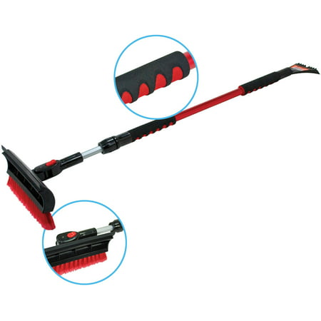 "Bigfoot 60"" Telescoping Snowbroom and Ice Scraper - One Touch Pivoting Head and Enhanced Foam Grip"