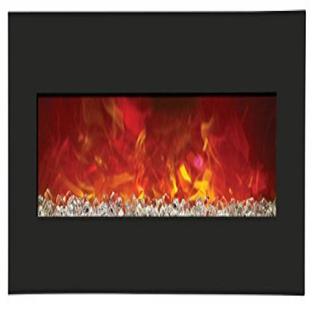 """43"""" Electric Fireplace with 51"""" x 23"""" Black Glass Surround"""