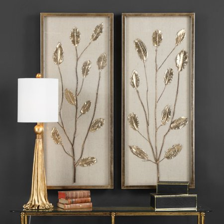 Uttermost Metal Leaves - Uttermost Branching Out Gold Leaf Wall Panels - Set of 2