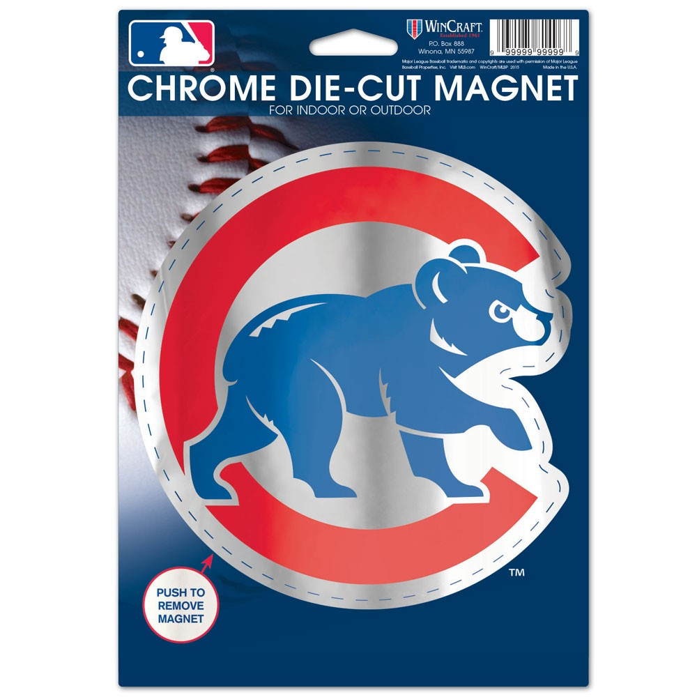 Chicago Cubs Official MLB 6 inch  x 9 inch  Chrome Die Cut Car Magnet by Wincraft