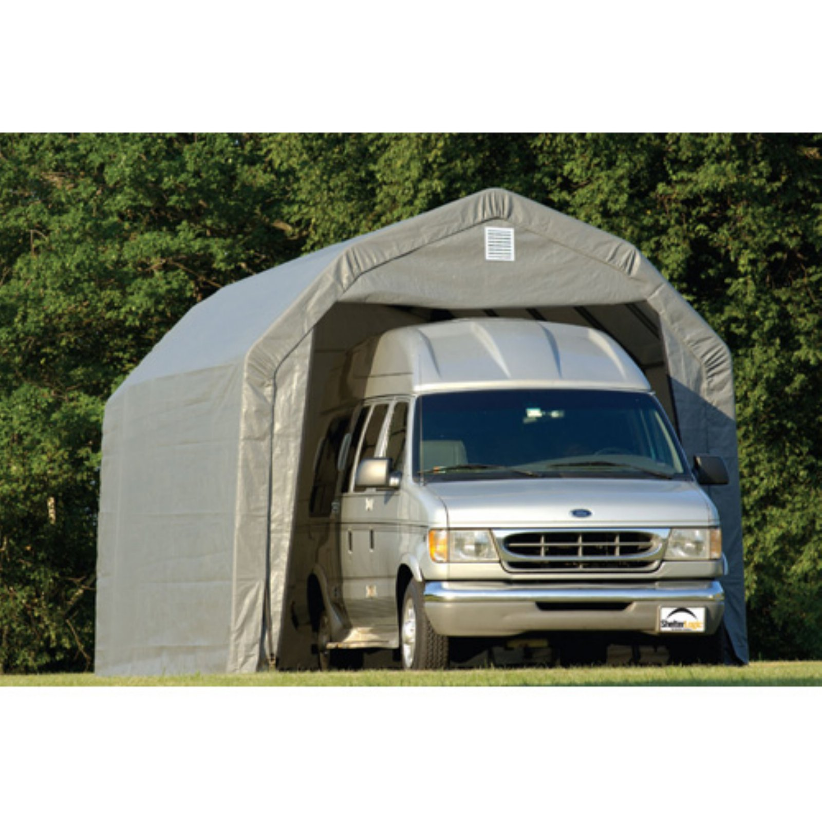 Click here to buy 12' x 20' x 9' Barn Style Shelter, Gray by ShelterLogic.