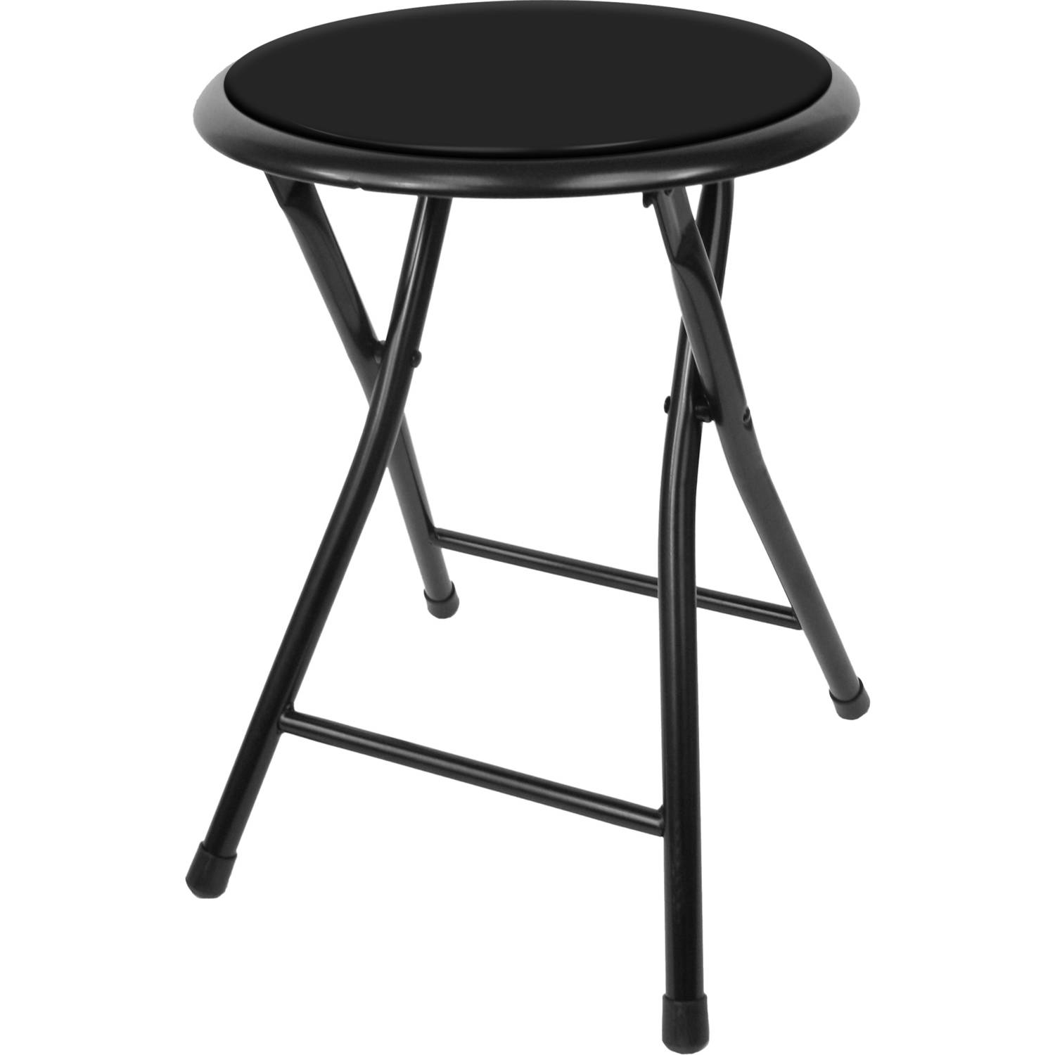 Folding Stool – Heavy Duty 18-Inch Collapsible Padded Round Stool with 300 Pound Capacity for Dorm, Rec Room or Gameroom by Trademark Home (Black)