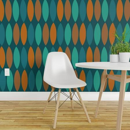 Wallpaper Roll Autumn Leaves Minimalist Geometric Rustic Mid 24in x 27