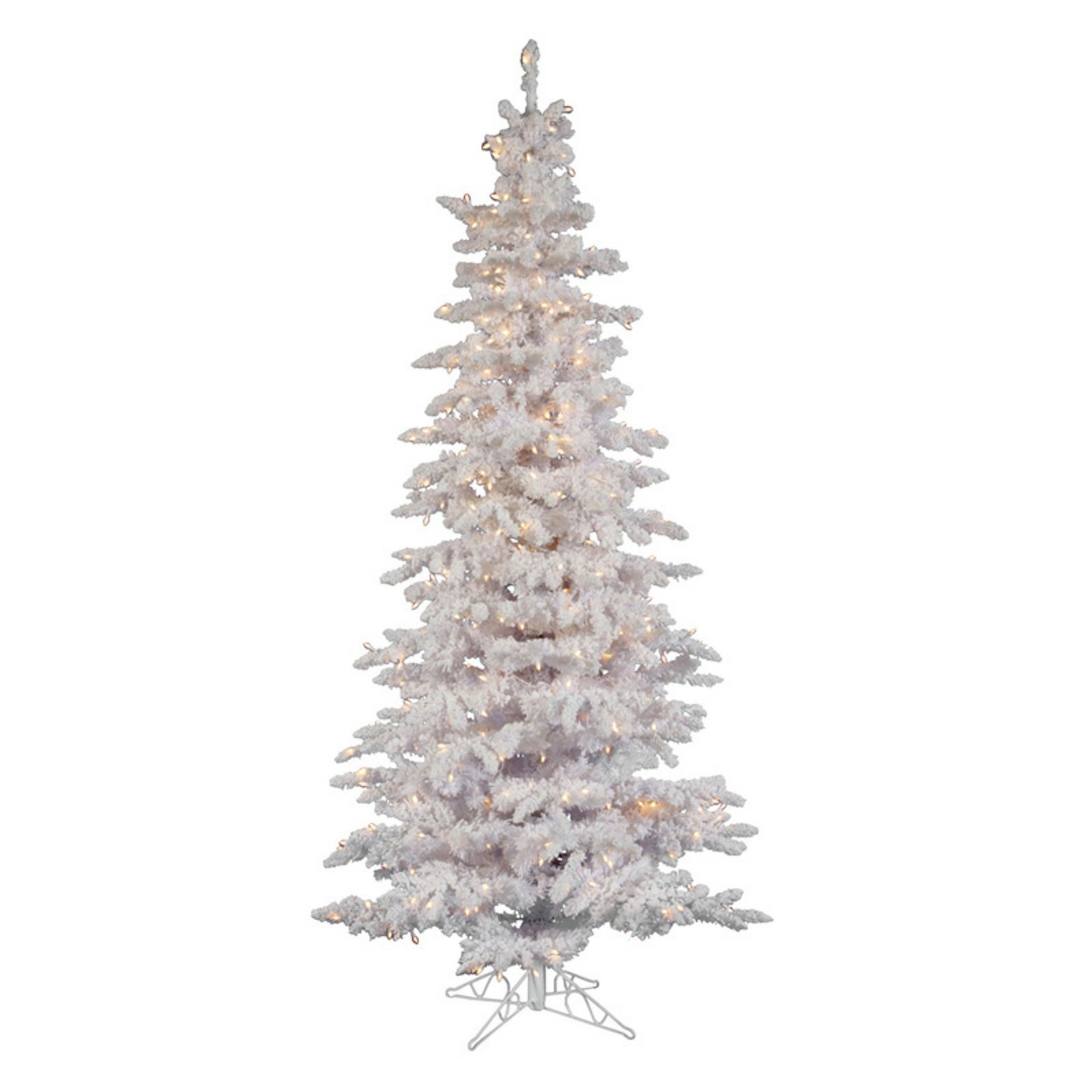Flocked White Slim Pre-lit Christmas Tree - Walmart.com