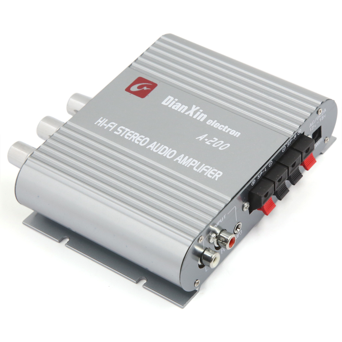 Unique Bargains Universal 85dB Mini Hi-fi 200W Stereo Audio Power Amplifier Gray for Car