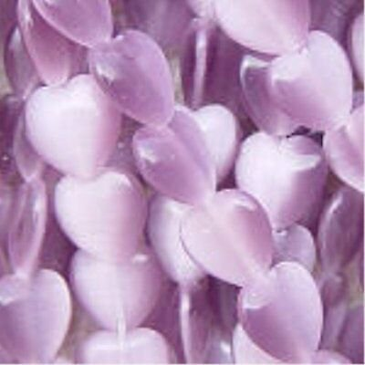 Heart Shaped Cat's Eye Beads 6mm - Lavender