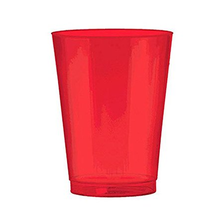 Red Holiday Cups 10 Ounce Shiny Red Plastic Cups. Pack Includes 50 High Quality Hard Plastic Red Party Cups. Perfect For Parties And Holidays. (Red Plastic Cup)