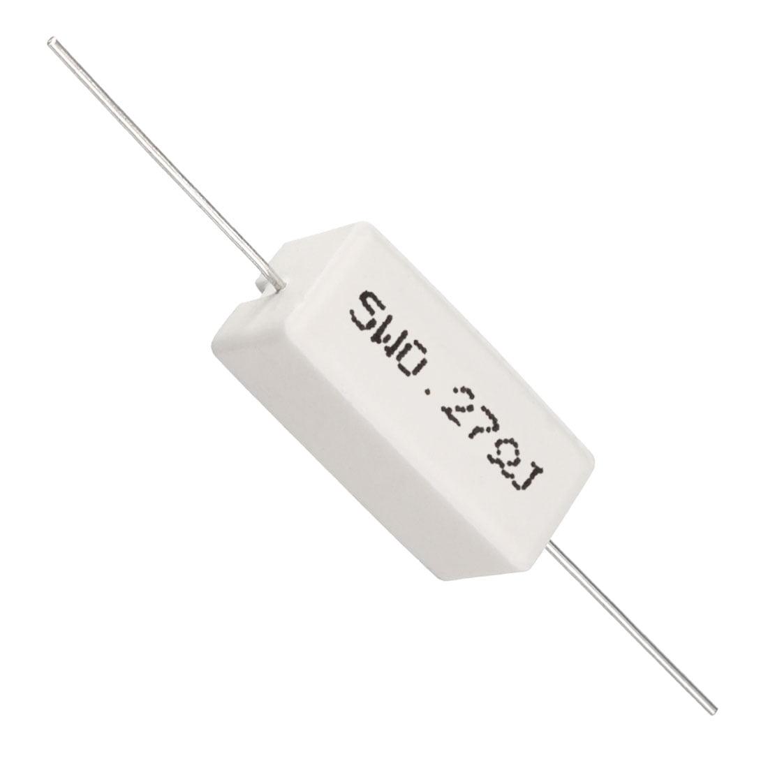 Axial Lead 5W 0.27 Ohm Ceramic Cement Power Resistor White 15 Pcs