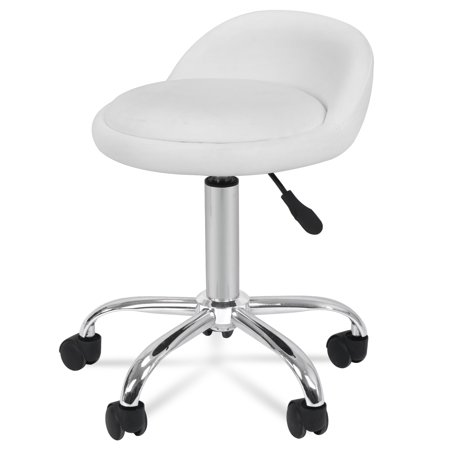 Zeny Adjustable Hydraulic Rolling Swivel Salon Stool Chair Tattoo Massage Facial Spa Stool Chair with Back Rest (PU Leather Cushion)White