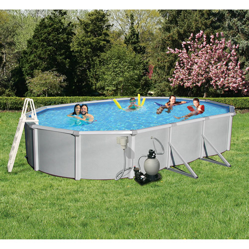 "Swim Time Oval 12' x 24' x 52"" Deep Samoan 8"" Top Rail Metal-Walled Swimming Pool"