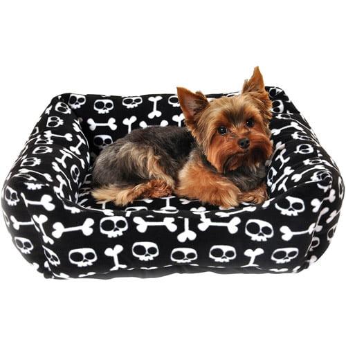 "Simply Dog Skull and Crossbones Bed, 23""L x 16""W x 4""H, Black"