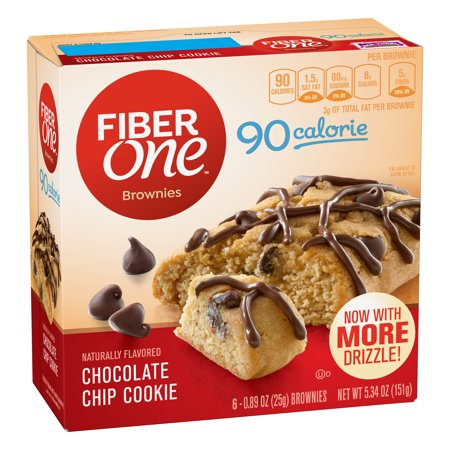 Fiber One Brownies  90 Calorie Bar  Chocolate Chip Cookie  6 Fiber Bars  5 34 Oz  0 89 Oz